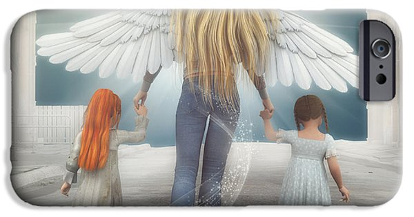 Angel Blues iPhone Cases - Angel in Blue Jeans iPhone Case by Jutta Maria Pusl