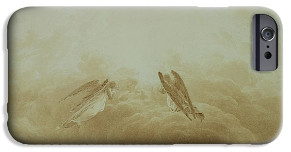 Flight iPhone Cases - Angel in Prayer iPhone Case by Caspar David Friedrich