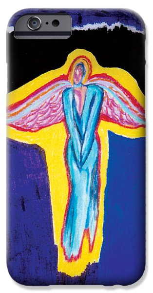 Angel Blues Pastels iPhone Cases - Angel in Red iPhone Case by Mike Manzi