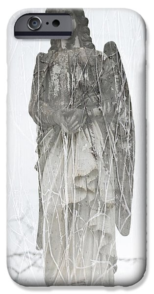 Headstones iPhone Cases - Angel in the vines iPhone Case by Sonja Quintero