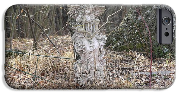 Final Resting Place iPhone Cases - Angel in the Woods iPhone Case by Marisa Horn