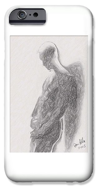Abstract Digital Drawings iPhone Cases - Angel backlit iPhone Case by Quim Abella