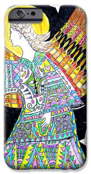 Kim Drawings iPhone Cases - Angel iPhone Case by Keleki Love