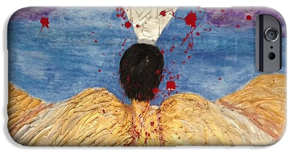 Multimedia Mixed Media iPhone Cases - Angel Losing Its Wings - Fallen 01 iPhone Case by Edward Paul