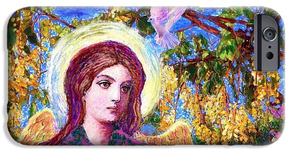 Healing Paintings iPhone Cases - Angel Love iPhone Case by Jane Small