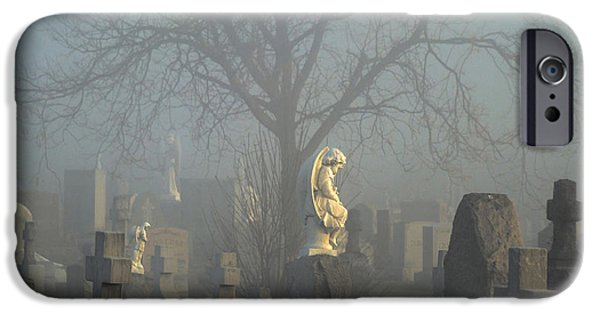 Angel Blues iPhone Cases - Angel Mist Cemetery iPhone Case by Gothicolors Donna Snyder