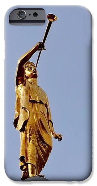 Heaven iPhone Cases - Angel Moroni iPhone Case by Rona Black