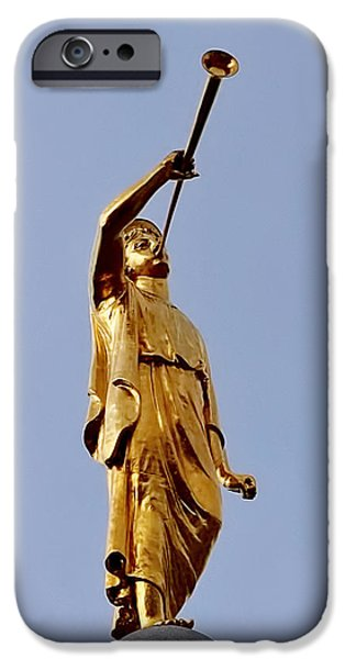 Angel Moroni iPhone Cases - Angel Moroni iPhone Case by Rona Black