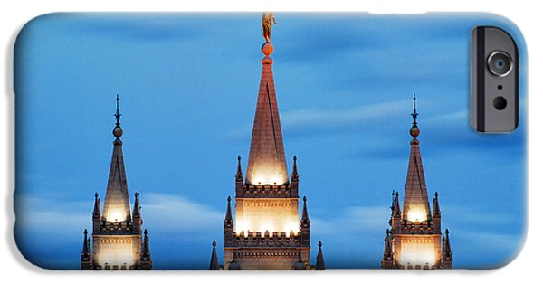 Angel Moroni iPhone Cases - Angel Moroni Spires iPhone Case by La Rae  Roberts