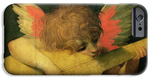 Lute Paintings iPhone Cases - Angel Musician iPhone Case by Giovanni Battista Rosso Fiorentino