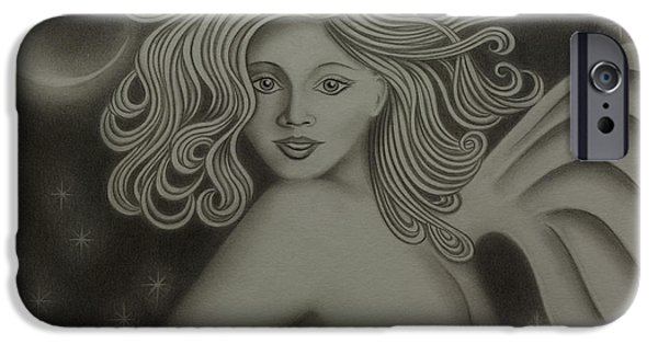 Night Angel Drawings iPhone Cases - Angel Nouveau iPhone Case by Dennis Furioso