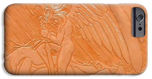 Angel Reliefs iPhone Cases - Angel of Death at War iPhone Case by Ron Moses