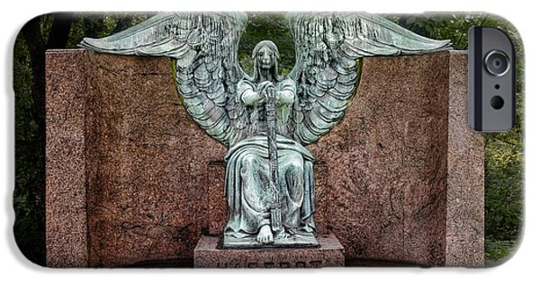 Headstones iPhone Cases - Angel of Death Lake View Cemetery iPhone Case by Tom Mc Nemar