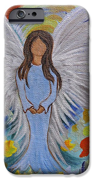Spiritual Portrait Of Woman iPhone Cases - Angel of Devotion iPhone Case by Ella Kaye Dickey
