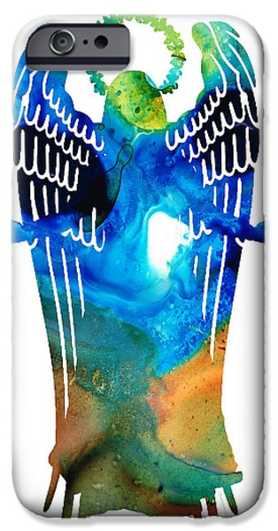 Religious Mixed Media iPhone Cases - Angel of Light - Spiritual Art Painting iPhone Case by Sharon Cummings