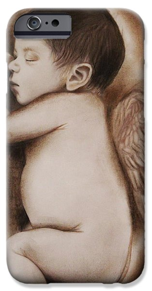Mixed Media Drawings iPhone Cases - Angel of My Tears iPhone Case by Sheena Pike