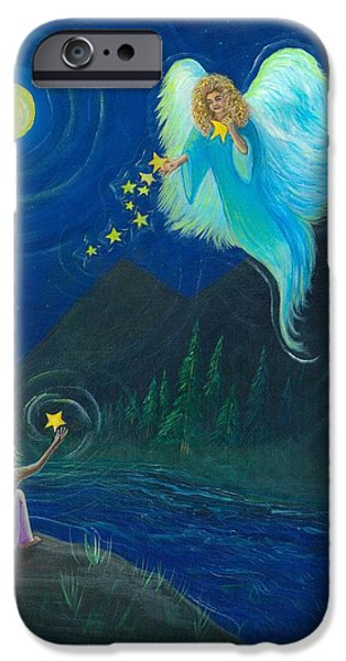 Night Angel iPhone Cases - Angel of the Stars iPhone Case by Beckie J Neff