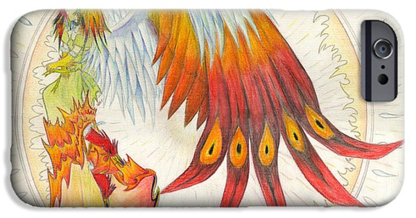 Pinion Paintings iPhone Cases - Angel Phoenix iPhone Case by Shawn Dall