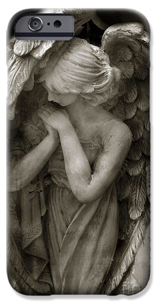 Heaven Photographs iPhone Cases - Angel Photography - Dreamy Spiritual Angel Art - Guardian Angel Art In Prayer  iPhone Case by Kathy Fornal