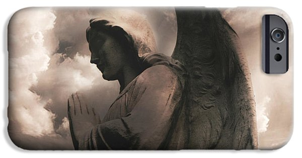 Angel. Spiritual iPhone Cases - Angel Praying Heavenly Clouds Sepia Angel Art - Inspirational Angel In Prayer  iPhone Case by Kathy Fornal