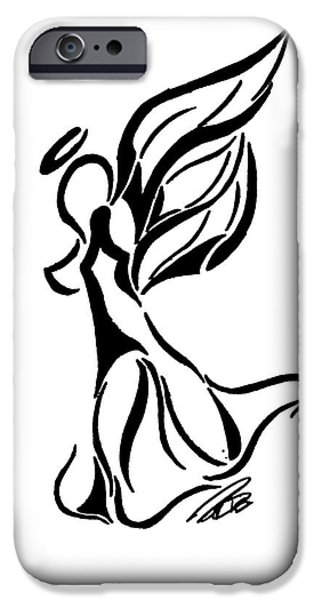 Angelic Drawings iPhone Cases - Angel Line Art iPhone Case by Minding My  Visions by Adri and Ray