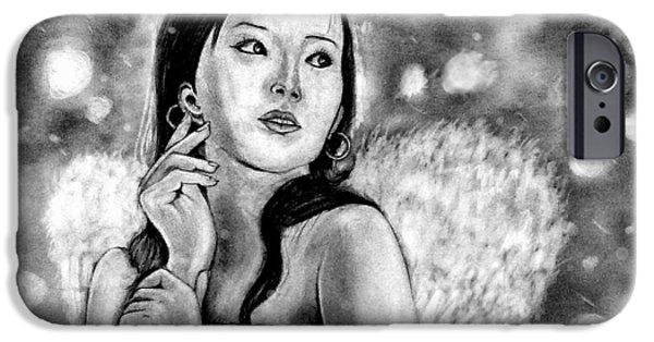 Night Angel Drawings iPhone Cases - Angel iPhone Case by Rishabh Ranjan