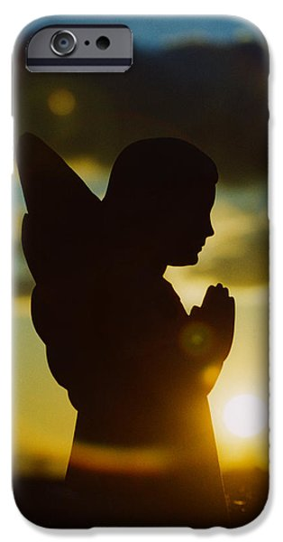 Angel Blues iPhone Cases - Angel Silhouette iPhone Case by Gothicolors Donna Snyder