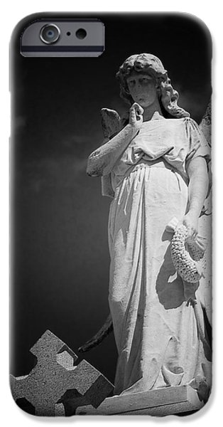 Headstones iPhone Cases - Angel St Louis Cemetery No 3 New Orleans iPhone Case by Christine Till