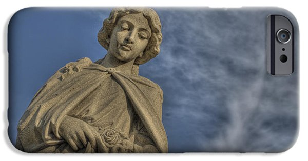 Angel Blues iPhone Cases - Angel Statue with Flowers iPhone Case by Cat Whipple