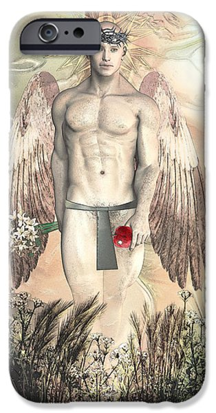 Angels Drawings iPhone Cases - Angel transparent By Quim Abella iPhone Case by Joaquin Abella