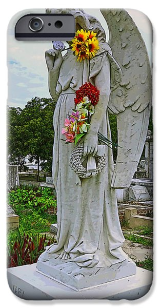Cemetary iPhone Cases - Angel with a Broken Wing iPhone Case by Rebecca Korpita