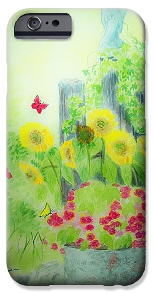 Angel with Butterflies and Sunflowers iPhone Case by Melanie Palmer