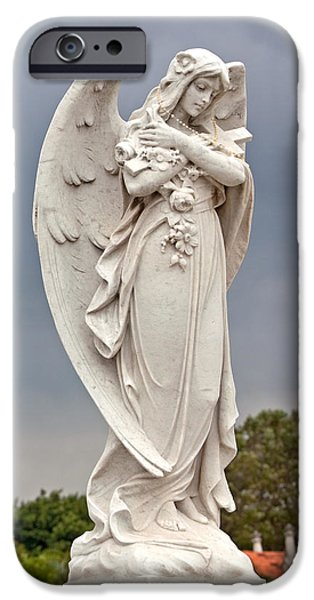 Seraphim Angel iPhone Cases - Angel With Cross iPhone Case by Terry Reynoldson