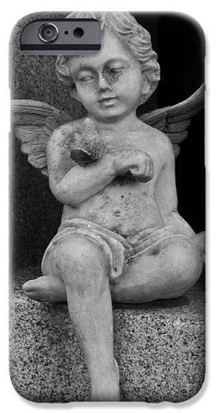 Usa Sculptures iPhone Cases - Angel With Dove iPhone Case by Nathan Little