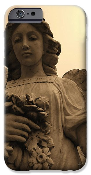 Usa Sculptures iPhone Cases - Angel With Flowers iPhone Case by Nathan Little
