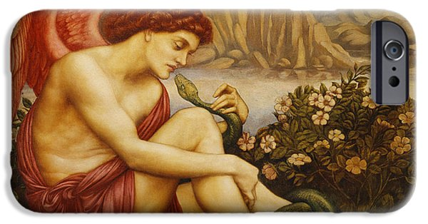 Concept Paintings iPhone Cases - Angel with Serpent iPhone Case by Evelyn De Morgan