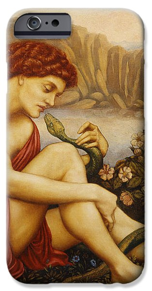 Angel with Serpent iPhone Case by Evelyn De Morgan