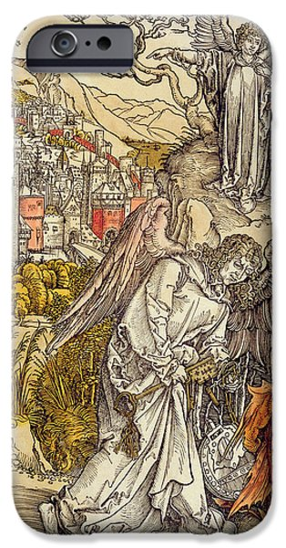 Religious Drawings iPhone Cases - Angel with the Key of the Abyss iPhone Case by Albrecht Durer or Duerer
