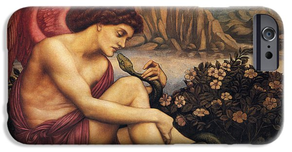 Serpent iPhone Cases - Angel With The Serpent iPhone Case by Evelyn de Morgan