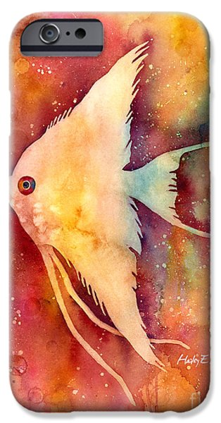 Creatures Paintings iPhone Cases - Angelfish II iPhone Case by Hailey E Herrera