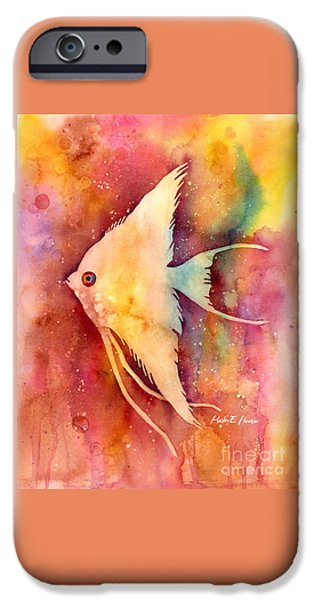 Zoology Paintings iPhone Cases - Angelfish II iPhone Case by Hailey E Herrera
