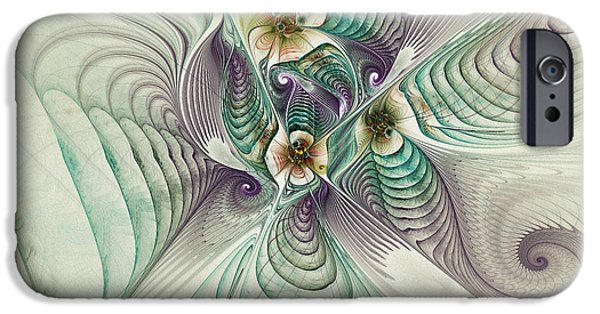 Green Surreal Geometric iPhone Cases - Angelic Entities iPhone Case by Deborah Benoit
