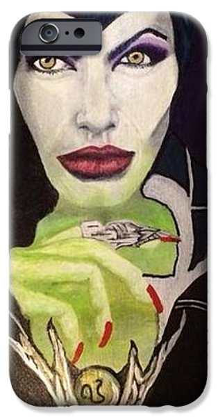 Celebrities Art iPhone Cases - Angelina Jolie as Maleficent iPhone Case by Sherry Pifko