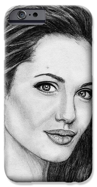 Celebrities Art iPhone Cases - Angelina Jolie in 2005 iPhone Case by J McCombie