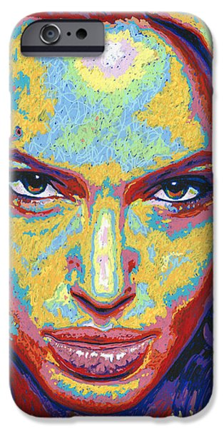 Lips iPhone Cases - Angelina iPhone Case by Maria Arango