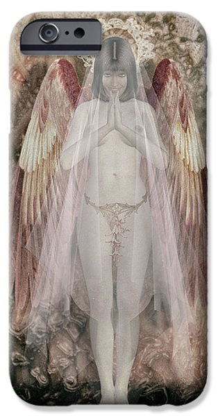 Seraphim Angel Digital Art iPhone Cases - Angelita friendly iPhone Case by Joaquin Abella