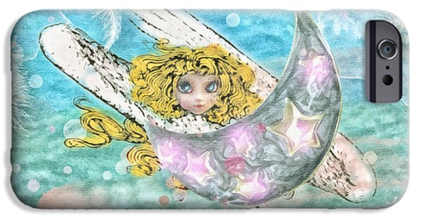 Angel Blues Mixed Media iPhone Cases - Angelito iPhone Case by Mo T