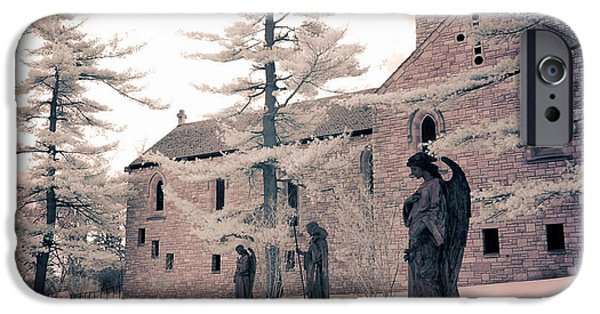 Jesus Photographs iPhone Cases - Angels and Religious Statues Winter Churchyard - Angel Statues With Jesus Churchyard Winter Scene iPhone Case by Kathy Fornal