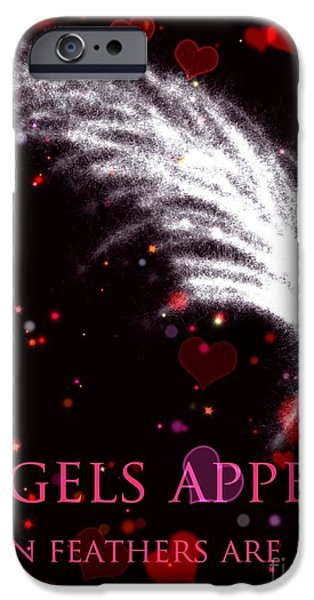 Angelic Drawings iPhone Cases - Angels Appear 2 iPhone Case by Karen Larter