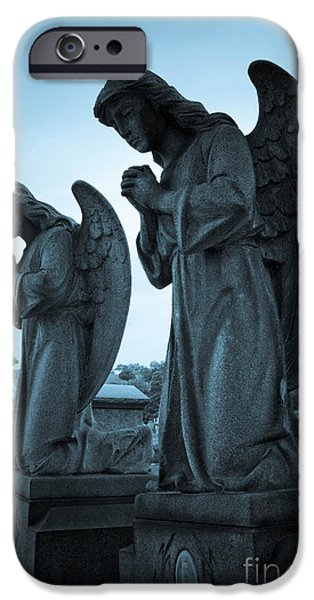 Grave Yard iPhone Cases - Angels in Prayer iPhone Case by Amy Cicconi